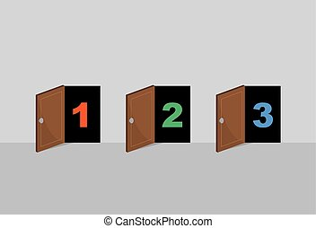 Doors Numbered Open - Three wooden opened doors numbered