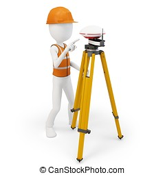 3d man surveyor with GPS station on white background