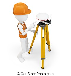 3d man surveyor with GPS station