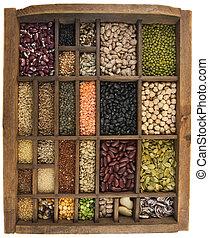 feijões, grãos, Sementes, vindima, Typesetter,...