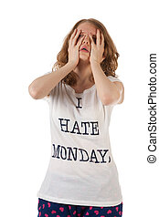 Hate mondays - Young woman is hating mondays