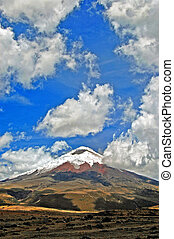 Vertical view of the Cotopaxi volcano (highest active in the...