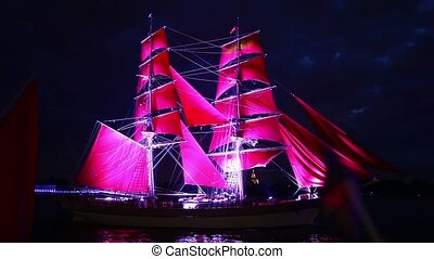 red sails - HD1080: Sailing ships with red sails in St...