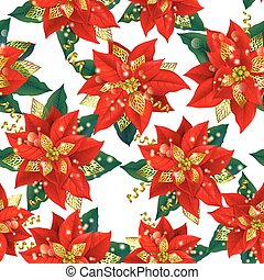 Seamless pattern of Christmas Poinsettia with golden...
