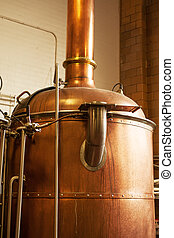 Boil kettle - Copper boil kettle in the American brewery