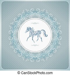 Vintage background with ornamental horse