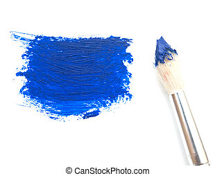 artist brush with blue paint on a white background