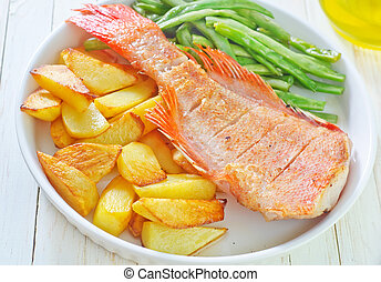 baked fish with potato and green beans