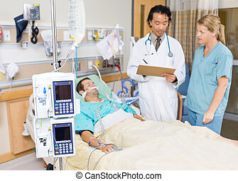 Dialysis Machine With Patient And Doctor - Dialysis machine...