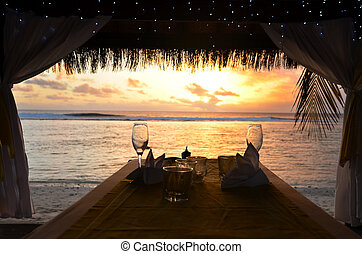 Romantic dinner for two on the beach of Pacific Island