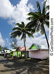 Colorful huts in Rarotonga Cook Islands - RAROTONGA - SEP...