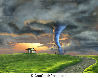 Tornado sweeping through a country landscape at sunset...
