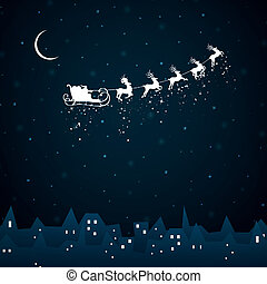 Vector Santa Claus coming to City - Vector Illustration of...