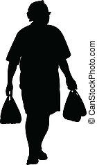 man carrying bags,shopping, silhouette vector