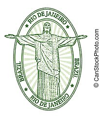 Rio de Janeiro stamp - Green grunge rubber stamp with the...