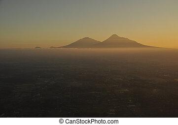 Moutain Peaks of Merbabu and Merapi