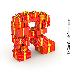 Letter R from gifts - Letter R from gift boxes decorated...
