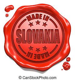 feito, selo,  -, selo, Eslováquia, cera, vermelho