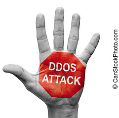DDoS Attack - Stop Concept. - DDoS Attack - Raised Hand with...
