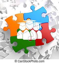 Group of Graduates Icon on Multicolor Puzzle - Icon of Human...