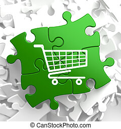 Shopping Cart Icon on Green Puzzle - Icon of Shopping Cart...
