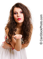 young woman blowing a kiss isolated - Beautiful young woman...