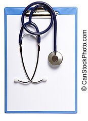 Blank medical clipboard with stethoscope isolated