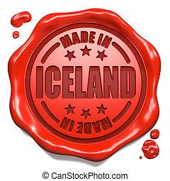 feito, selo, Islândia,  -, selo, cera, vermelho
