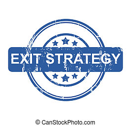 Exit Strategy - Blue business exit strategy stamp with stars...