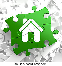 Home Icon on Green Puzzle.