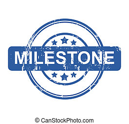 Milestone - Business milestone stamp with stars isolated on...