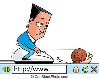 Slow adsl - Businessman surfing the net at slow velocity