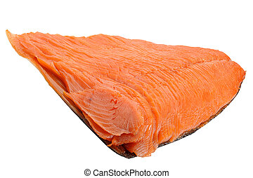Smoked Salmon - Close-up of smoked salmon studio isolated on...
