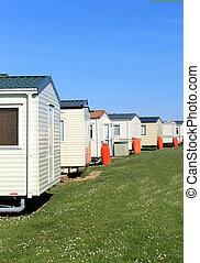 Row of caravans in trailer park - Scenic view of row of...
