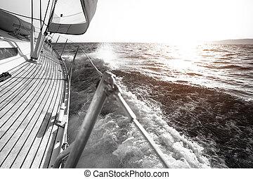 Yate, Navegación, regata, lujo, Yates, blanco y...