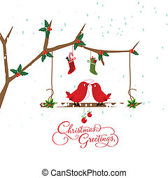 birds couple on the holly berry branch holiday greetings...