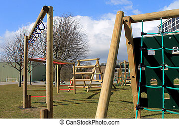 School playground - Secondary school playground with...