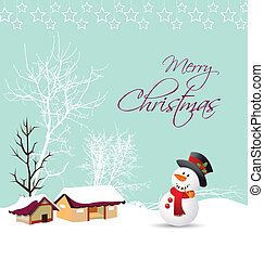 merry christmas card with snowman a