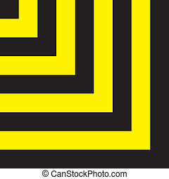 Yellow on black corner square attention sign background element