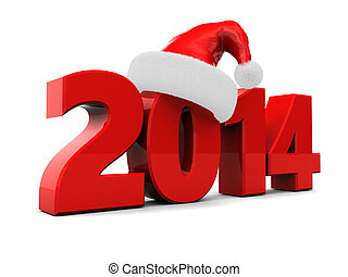 2014 new year - 3d illustration of text 2014 with red...