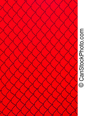 Red Chainlink Fence Shadow - Chainlink Fence Shadow on red...