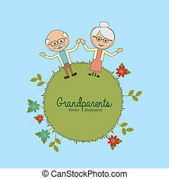 grandparents design over blue background vector illustration