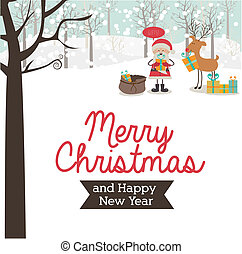 merry christmas over landscape background vector...