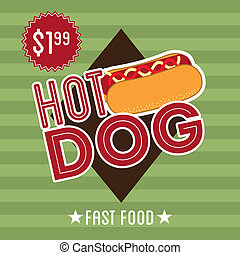 hot dog design over green background vector illustration