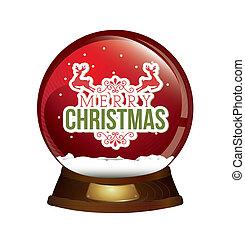 christmas ball over white background  vector illustration