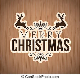 merry christmas over wooden background vector illustration...