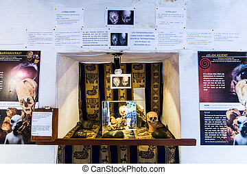 Embalmed mummy and skull in Peru. Bones at Chauchilla archeological site, Nazca, South America