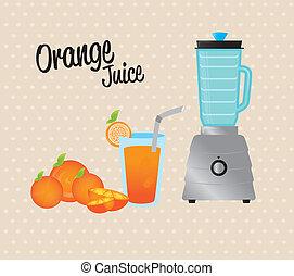 orange juice over dotted background vector illustration