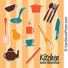 kitchen icons over pink background vector illustration