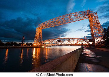 Aerial Lift Bridge at Sunset in Duluth Minnesota, Canal Park